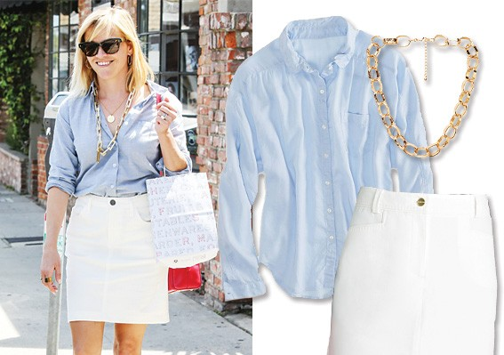 Reese Witherspoon A chambray shirt with a jean skirt