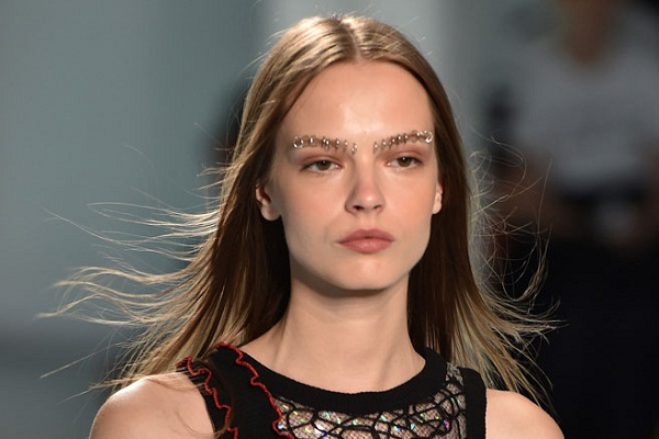 James Experiments Eyebrow Piercing at Rodarte's Spring Summer 2015 Fashion Show