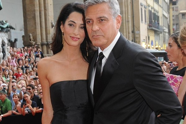 Amal Alamuddin Was Seen In Golden Dress As She Attended Post Wedding Party